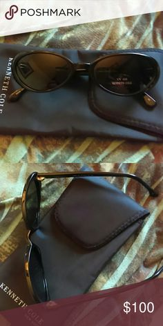 Original Kenneth Cole Sunglasses Black Almond Joy design with brand tag on temples.  Never worn.  Black soft case included. Kenneth Cole Accessories Glasses