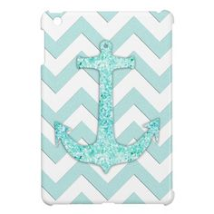 Glitter nautical anchor, teal blue chevron pattern iPad mini case i refuse to sink<3