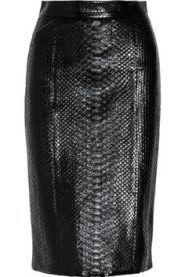 saia de couro de cobra preta …