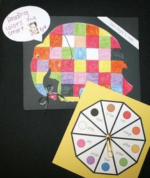 Animal activities:  FREE Elmer color game.  Each child's Elmer turns out different, so these make an adorable bulletin board after the game.