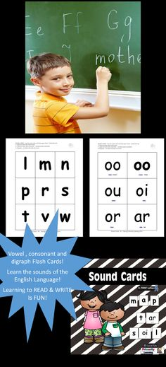 $ Download these consonant, vowel and digraph cards: • as flash cards to check the child's letter-sound recognition. • to play match-up games. • as home study cards once the sounds have been taught. • to create new words on a pocket chart or flat surface (reading). • to identify sounds in words (writing). • to assess letter-sound knowledge. Click to learn more! Have fun! Available in PRINT Letters and SASSOON Infant Font.