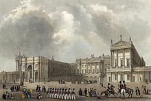 Buckingham Palace, c. 1837, depicting the Marble Arch, which served as the ceremonial entrance to the Palace precincts. It was moved to make way for the east wing, built in 1847, which enclosed the quadrangle.