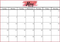 May 2018 Calendar, Weekly Calendar Template, Excel Calendar, Free Printable Calendar, Kids Calendar, Calendar Pages, Printable Templates, Printables, Holiday Calendar