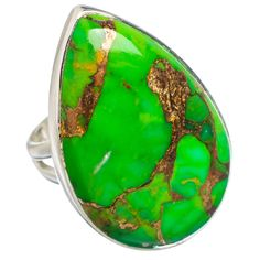 Large Green Copper Composite Turquoise 925 Sterling Silver Ring Size 7 RING768480
