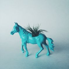 Aqua Blye Horse Planter with Air Plant by Two Trees Botanicals