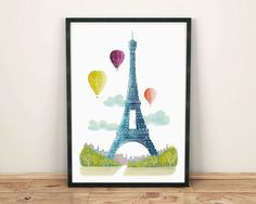 Paris Art Print, Paris Water colour Skyline Wall, Hot air balloon Art, Eiffel Tower, illustration, Art For Home, Nursery Art Print SPPPS3  Printed with pigment inks on archival matte paper.  *** Size information ***  You can choose for the image size to be either 5x7 | 8x10 | 8 x11.5 inches. I print all sizes on my 8.2x11.5 (A4) paper. These sizes are designed to fit perfectly in off the shelf frames with a matte (both within Europe and Internationally). The frames pictured are from the Ikea…