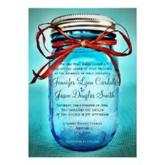 Blue Mason Jar Rustic Country Wedding Invitations