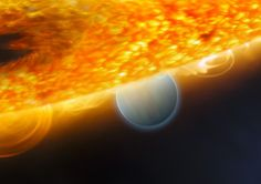 handout photo from the European Space Agency released December 10, 2008 shows an artist's impression of the Jupiter-size extrasolar planet, HD 189733b, being eclipsed by its parent star. Astronomers using the Hubble Space Telescope have measured carbon dioxide and carbon monoxide in the planet's atmosphere. The planet is a ?hot Jupiter?, so close to its parent star that it completes an orbit in only 2.2 days.