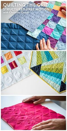 Quilting the Grid:  Structured Free motion quilting.  Combine your walking foot and free-motion quilting to create stunning geometric designs.  Affiliate link.
