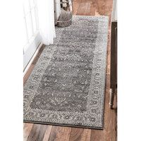 Nuloom Traditional Vintage Fancy Floral Greymulti Runner Rug 2'6 Cool Kitchen Runner Rugs Design Inspiration