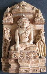 Rare Burmese Art Pieces -Burmese Andagu Stone Stele Buddha Sculpture depicting life of Buddha