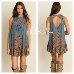 """Boho lace dress Super cute Boho lace mini dress. This dress is a best seller!  Available in size S-(2-4), M-(6-8), and L-(10-12). TK1675222.  You will need to wear slip underneath. Blue lace panels are see thru. LENGTH: S 32"""", M 33"""", L 34"""". BUST: S 20"""", M 21"""", L 22"""". Laying flat from armpit to armpit 2 a T Boutique  Dresses Mini"""