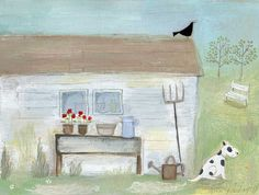Potting Shed Original Painting by Louise Rawlings