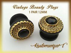 Dilatadores vintage dorados y negro pin up 12mm. por KustomwizarT
