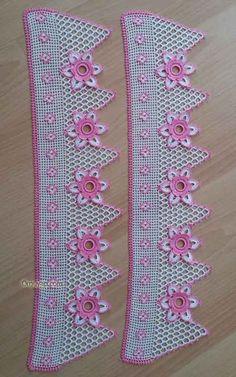 Crochet Towel, Crochet Dollies, Crochet Lace Edging, Crochet Borders, Crochet Trim, Filet Crochet, Crochet Flowers, Crochet Stitches, Crochet Baby