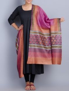 Purple-Multi-Color Tussar Silk Block Printed Dupatta
