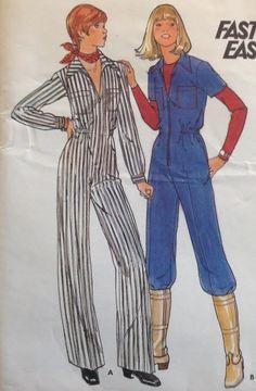 RARE! Uncut Vtg Buterick 5218 Sew Pattern Jumpsuit Romper Retro Coveralls 9/10 #Butterick