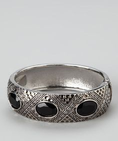 Take a look at this Silver & Black Stone Bracelet by Finish the Look: Accessories on #zulily today!