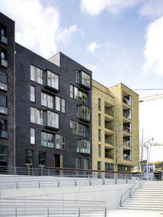 """Das Gebäudeensemble am Dalmannkai in der Hamburger Hafencity wurde beim Fritz-Höger-Preis 2011 für Backstein-Architektur in der Kategorie """"Wohnungsbau, Geschosswohnungsbau"""" nominiert.</br>Foto © aqui architektur fotografie, Stuttgart"""