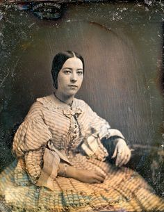 """Ruching and Bows, Enslin, Schreiber & Co 1/6th-Plate Daguerreotype, Circa 1859    This late daguerreotype is hallmarked what looks like """"Enslin Schrieb & Co."""", which I've learned was the mark of """"Enslin, Gottlieb: Listed as a dealer in daguerreian apparatus, 3 Maiden Lane, New York City, N.Y., 1856-1858. In 1856-1857 he was listed in partnership as Enslin, Schreiber (A.)& Co., and noted daguerreotype plates."""""""