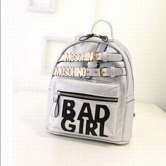 Moschino Badgirl's Women's Leather Backpack Silver - moschinooutlet2015.com