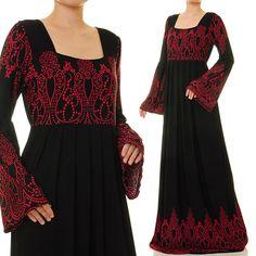 Black Red Ethnic Print Square Neckline Modest by Bell Sleeve Dress, Maxi Dress With Sleeves, Kimono Cardigan, Long Cardigan, Tie Dye Jackets, Hijab Style Dress, Black Abaya, Spiral Tie Dye, Ethnic Print