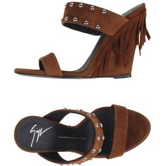 Giuseppe Zanotti Design Sandals ($211) ❤ liked on Polyvore featuring shoes, sandals, cocoa, wedge sandals, animal shoes, leather sole shoes, fringe wedge sandals and leather shoes