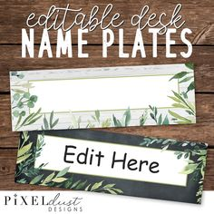 """Are you dreaming of """"fixing-up"""" your classroom?These classic farmhouse-style desk name plate set includes 3 blank designs with editable text (using PowerPoint) as well as 3 primary designs with ruled lines for writing student names. If you enjoy this set, please check out our coordinating Modern Magnolia decor sets and bundles!HOW IT WORKS: 1. You will receive a download link once payment is complete.2.If you would like to add names before printing, open the PowerPoint file. You can copy and/or Student Name Plates, Student Name Tags, Teacher Name Plates, Desk Name Tags, Teacher Name Signs, Classroom Name Tags, Classroom Desk, Modern Classroom, Classroom Decor Themes"""