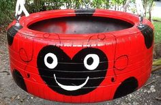 Red ladybug hand painted Tire Swing. Drainage by Tireswingscom ...