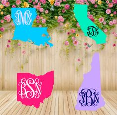 A personal favorite from my Etsy shop https://www.etsy.com/listing/277237680/all-state-monogram-decal-state-monogram