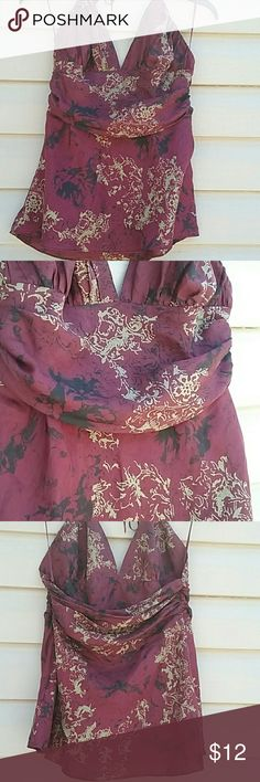 Express design studio tank top Beautiful 100% silk top, ties around neck zips up the side excellent used condition size M picture is actual color Express Tops