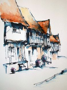 Watercolor Landscape Paintings, Pen And Watercolor, Landscape Art, Building Painting, Urban Sketching, Watercolor Techniques, Painting Inspiration, Art Drawings, Architecture