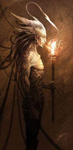 looks like King of Wands --Artist - Namo? Magical Creatures, Fantasy Creatures, Fantasy World, Fantasy Art, Dark Fantasy, King Of Wands, Kraken, Faeries, Occult