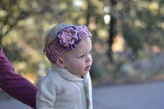 Crocheted Flower Headband cute girl headbant by HandmadeByBeccaBee