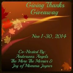 Enter to Win ~ It is time for Giving Thanks! #GivingThanks2014 Enter here http://giveawaylovers.com/2014/11/02/enter-to-win-it-is-time-for-giving-thanks-givingthanks2014/ For Your Chance To Win! YOU KNOW THAT I DEFINITELY ENTERED!!!!! I WANT TO WIN!!!! Thanks, Michele :)