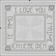 Free Cross Stitch Pattern - Languages of Love - Valentine's Day Cross Stitch