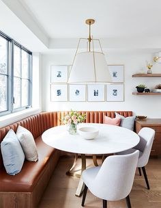 You don't need a formal dining room to create a warm and welcoming eating/entertaining space. A dining nook is a small space solution that… Banquette Seating In Kitchen, Kitchen Dining Rooms, Kitchen Interior, Kitchen Booth Seating, Banquette Bench, Room Interior, Kitchen Booths, Kitchen Corner Booth, Kitchen Nook