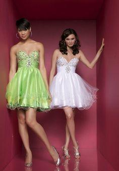 A line Organza Sweetheart Empire Short Length Sleeveless Evening Dress