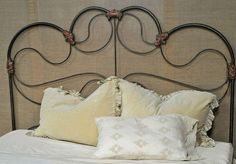 "KS101. One-of-a-kind King bed. Reconstructed from antique full bed. 72"" overall headboard height. $3450."