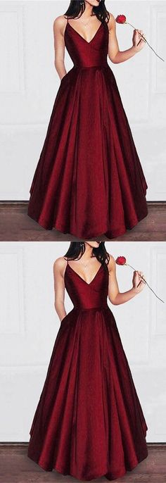 Long Burgundy V-neck Floor Length Long Prom Dress Satin Evening Gowns