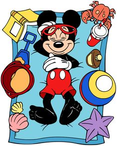 Clip art of Mickey Mouse relaxing at the beach Mickey Mouse Crafts, Mickey Mouse Cartoon, Mickey Mouse And Friends, Mickey Minnie Mouse, Retro Disney, Disney Love, Mickey Mouse Imagenes, Disney Frames, Disneyland
