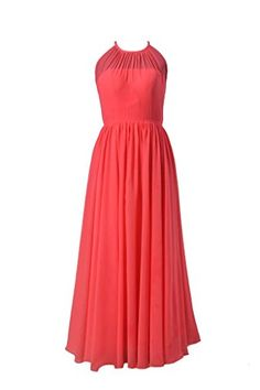 DaisyFormals Long Chiffon Bridesmaid Dress Illusion Neckline Party GownBM5197L Cherry -- You can find out more details at the link of the image.