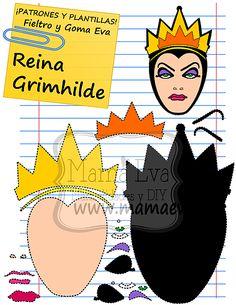 Descarga gratis nuestras plantillas para goma eva y fieltro de tus personajes favoritos: Blancanieves, la bruja, la reina Grimhilde, los enanitos....