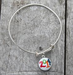 2014 Graduation Charm Bangle Bracelet--Choice of Colors on Etsy, $25.00