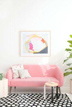 Sofá cor de rosa - o rosa quartz na decoração