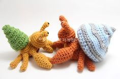 Hermit Crab with Removable Shells - FREE Crochet Pattern! Now with video tutorial for crab assembly.