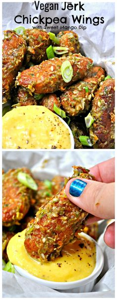 Vegan Jerk Chickpea Wings with Sweet Mango Dip – Rabbit and Wolves Super crispy vegan hot wings made from chickpeas. Tossed in the most amazing jerk sauce and served with a sweet mango dipping sauce! Vegan Foods, Vegan Snacks, Vegan Dishes, Vegan Chickpea Recipes, Vegetarian Meals, Mango Recipes Vegetarian, Vegan Califlower Recipes, Vegan Bbq Recipes, Vegetarian Sandwiches