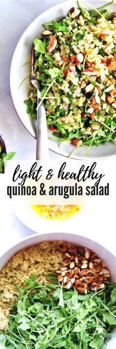 Click here for Quinoa & Arugula Salad: light, healthy, and delicious! #quinoasalad #healthysalad #arugula #quinoa
