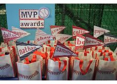 Baseball goody bags with pennant names - I'd like to do these; now I just have to find the time . . .  =)