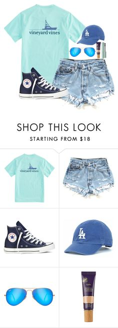 """""""Currently wondering why practice has to end at 9:30 pm"""" by valerienwashington ❤ liked on Polyvore featuring Vineyard Vines, Converse, Ray-Ban and tarte"""